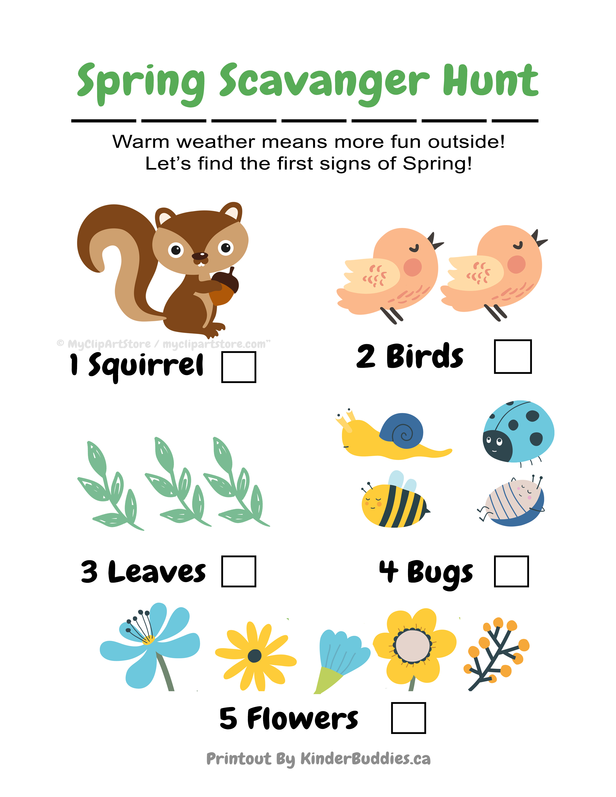 Spring Scavenger Hunt Free Printable Kinder Buddies Childcare – Scavenger Hunt Worksheets